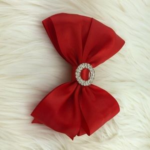 Other - Handmade red head bow clip, with buckle rhinestone